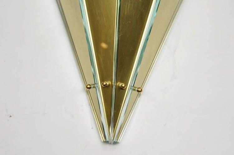 Paire d'appliques en verre et métal 1990
