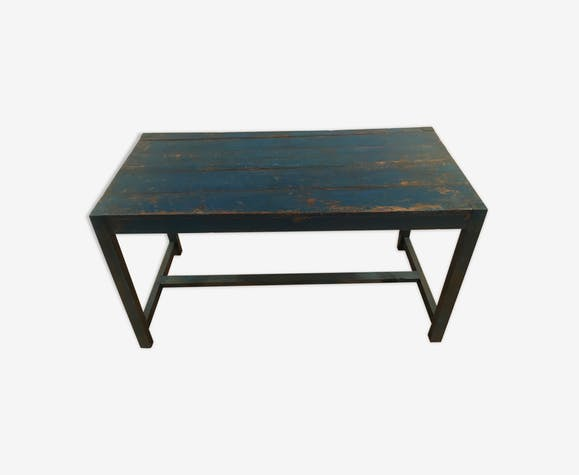 Old blue wooden military canteen table