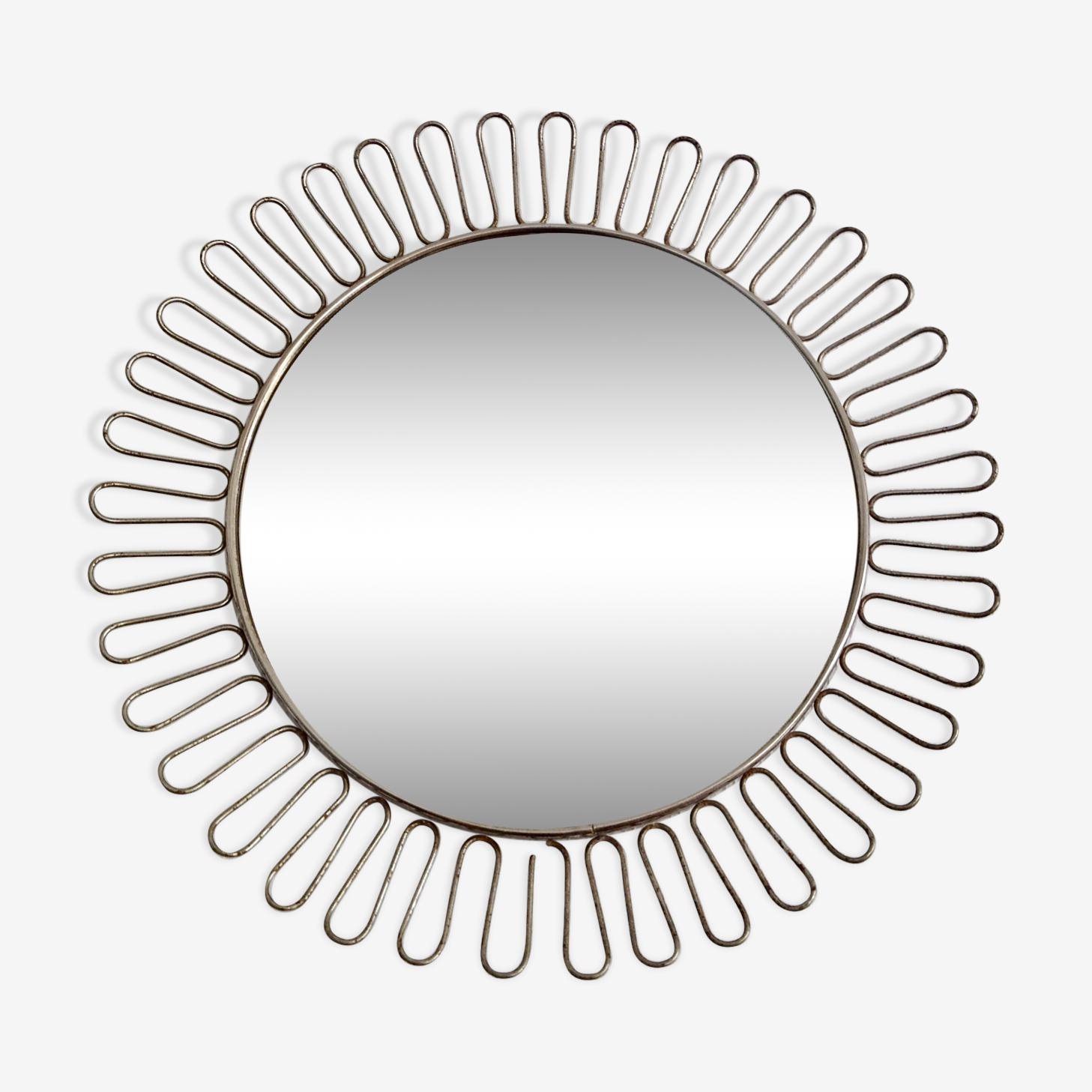 Miroir soleil métal 1950 - 32x32cm