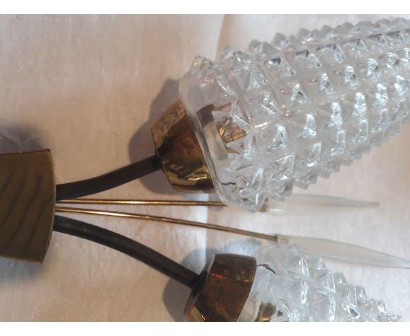 Paire d'appliques doubles en laiton métal et verre