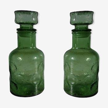Paire de bouteilles verte vintage