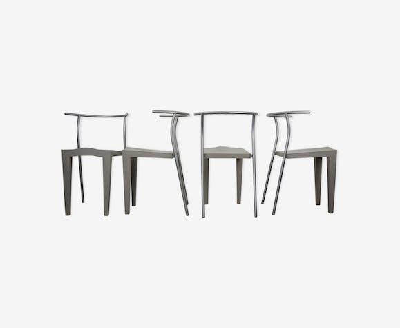 Set de 4 chaises Dr Glob design années 80 par Philippe Starck