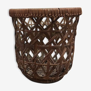 Vintage braided wicker basket
