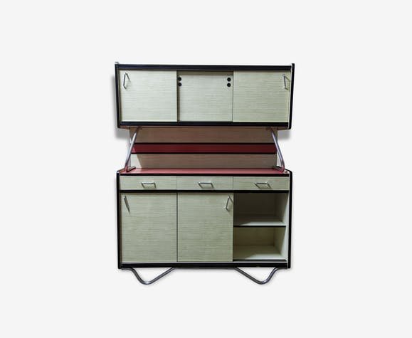 meuble de cuisine formica 70 vintage rose reconditionn. Black Bedroom Furniture Sets. Home Design Ideas