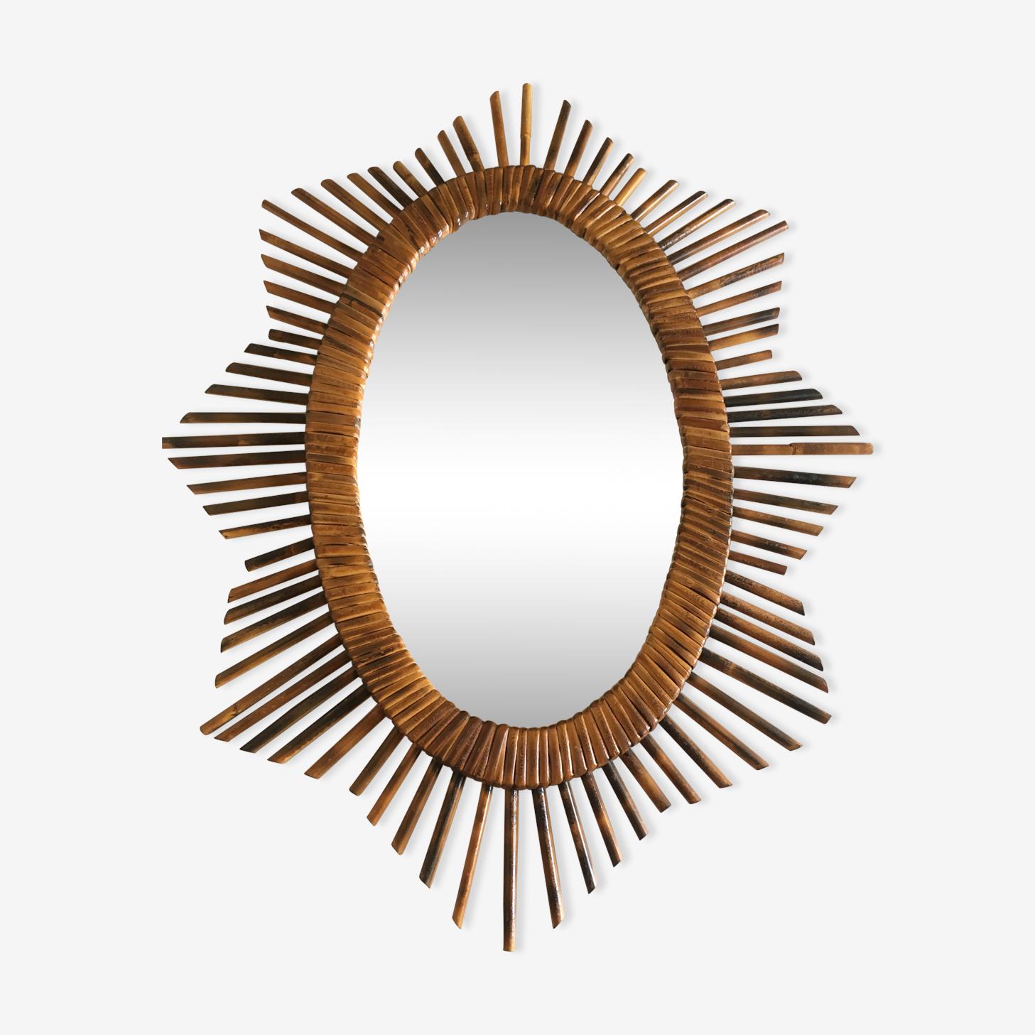 Miroir soleil ovale en rotin 58x54cm