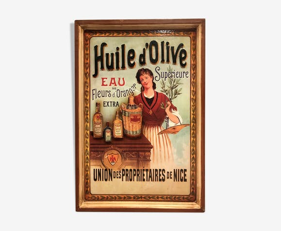 ancien panneau publicitaire en relief huile d 39 olive sup rieure bois mat riau transparent. Black Bedroom Furniture Sets. Home Design Ideas