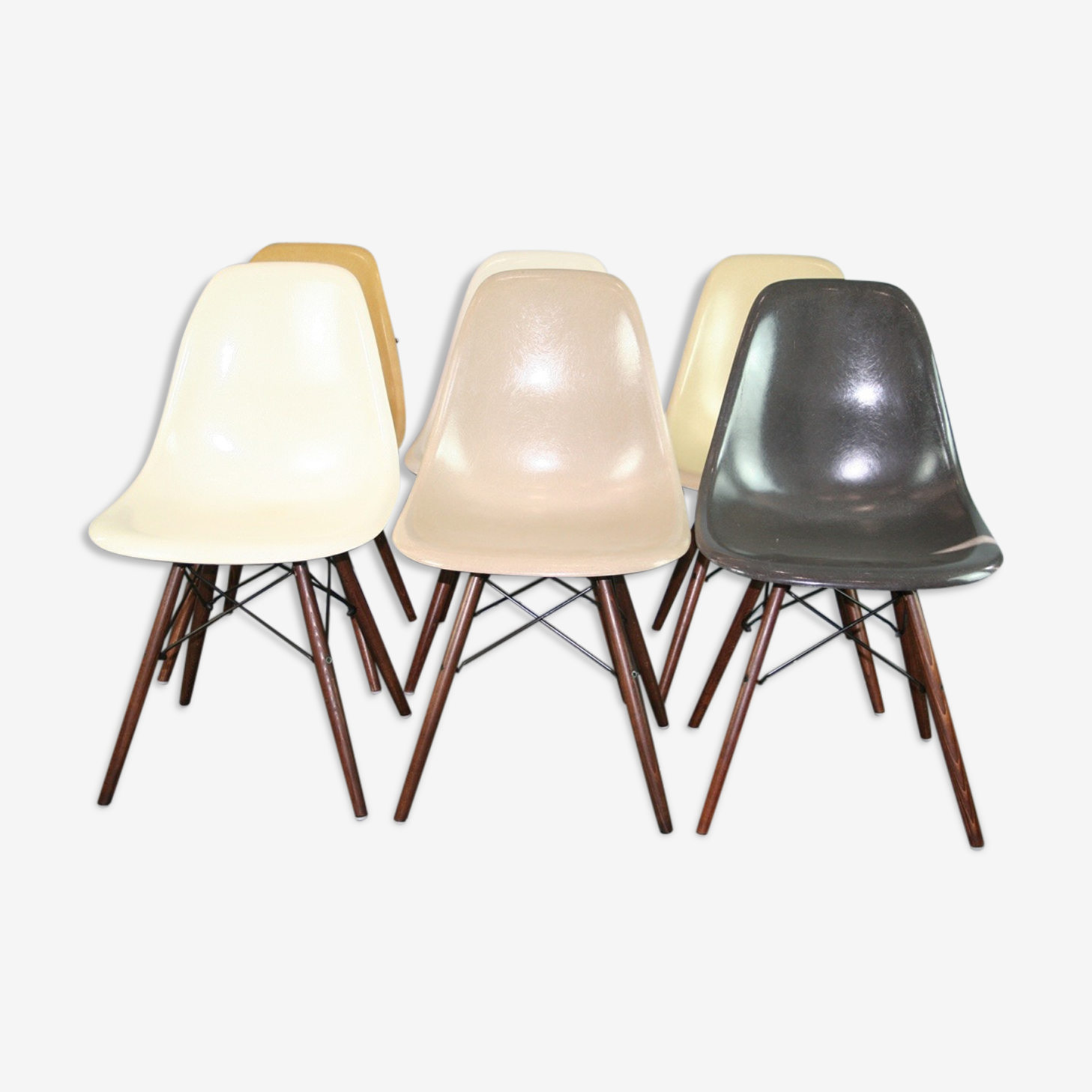 Lot 6 chaises DSW Charles Eames Herman Miller
