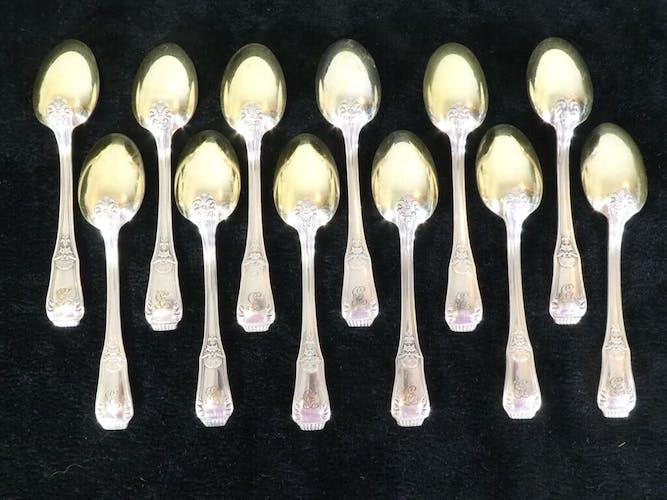 Set de 12 cuilleres a moka Boulenger en metal argenté modele regence berry