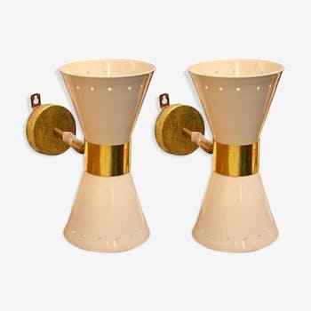 Paire d'appliques diabolo beige en laiton design italien