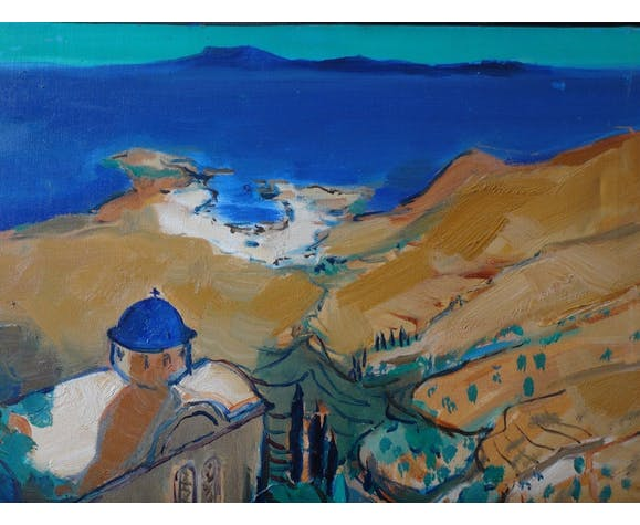 Huile sur toile Tinos monastère cyclades