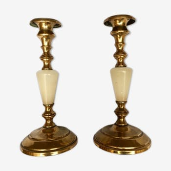 Pair of brass and alabaster candleholders