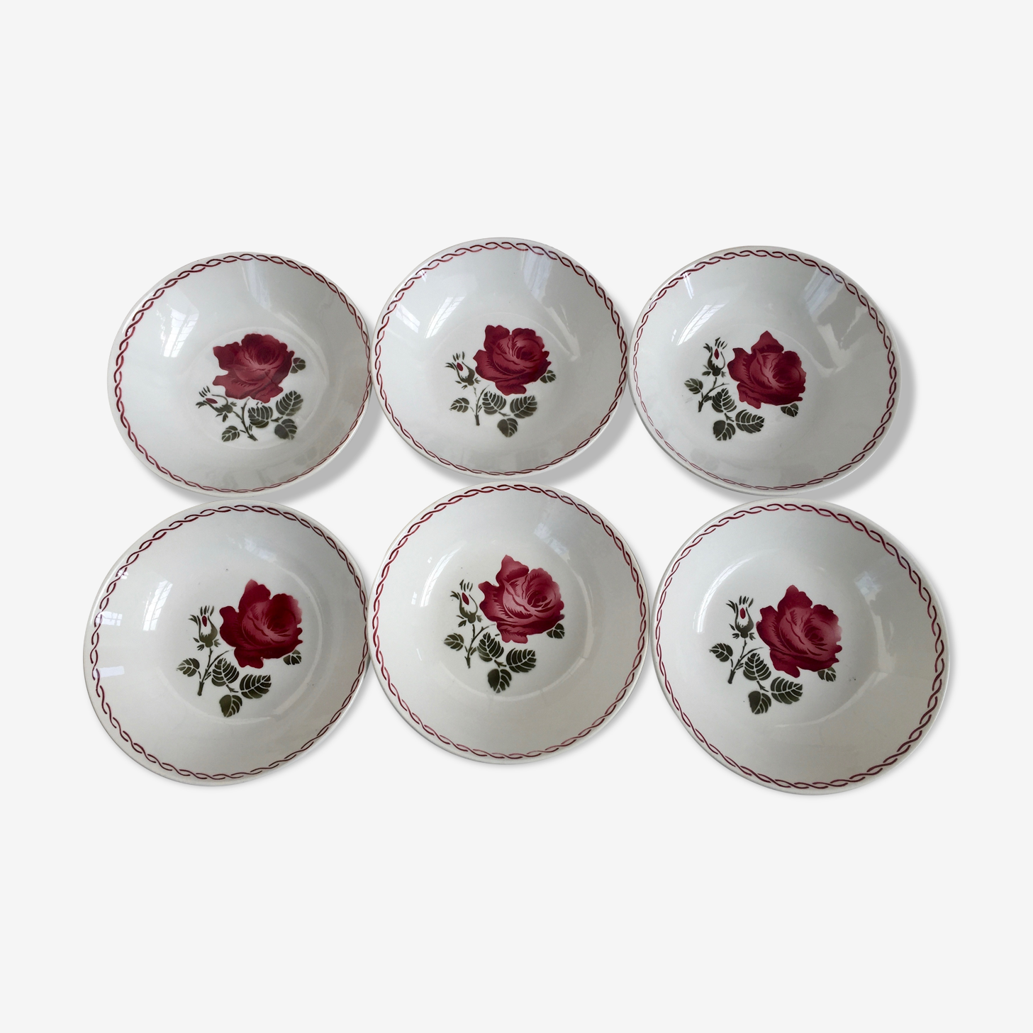 Series of 6 soup plates Badonviller