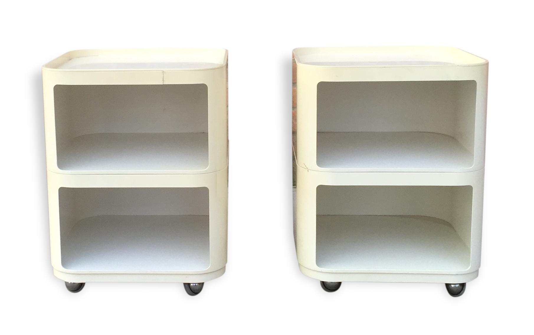 paire de table de chevet kartell pop - plastique - blanc - design