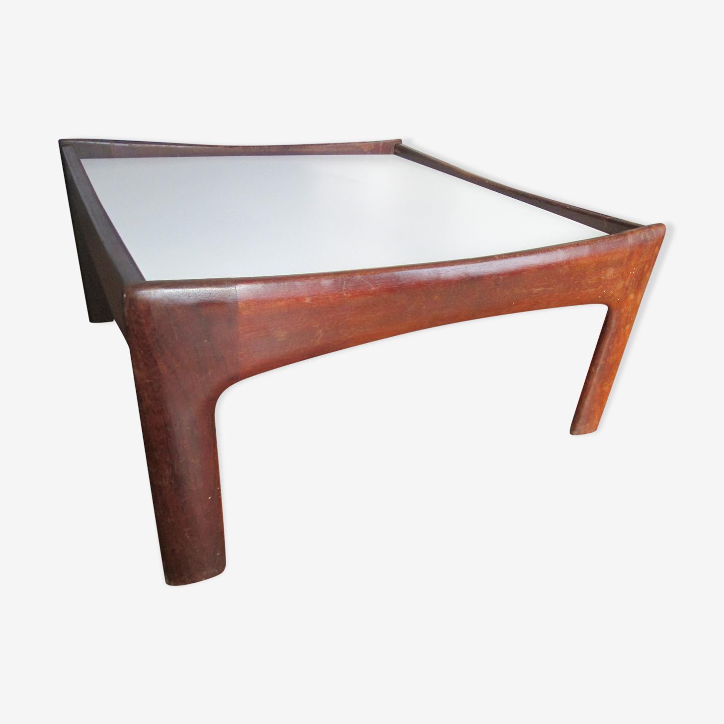 Table basse vintage teck et mélaminé blanc