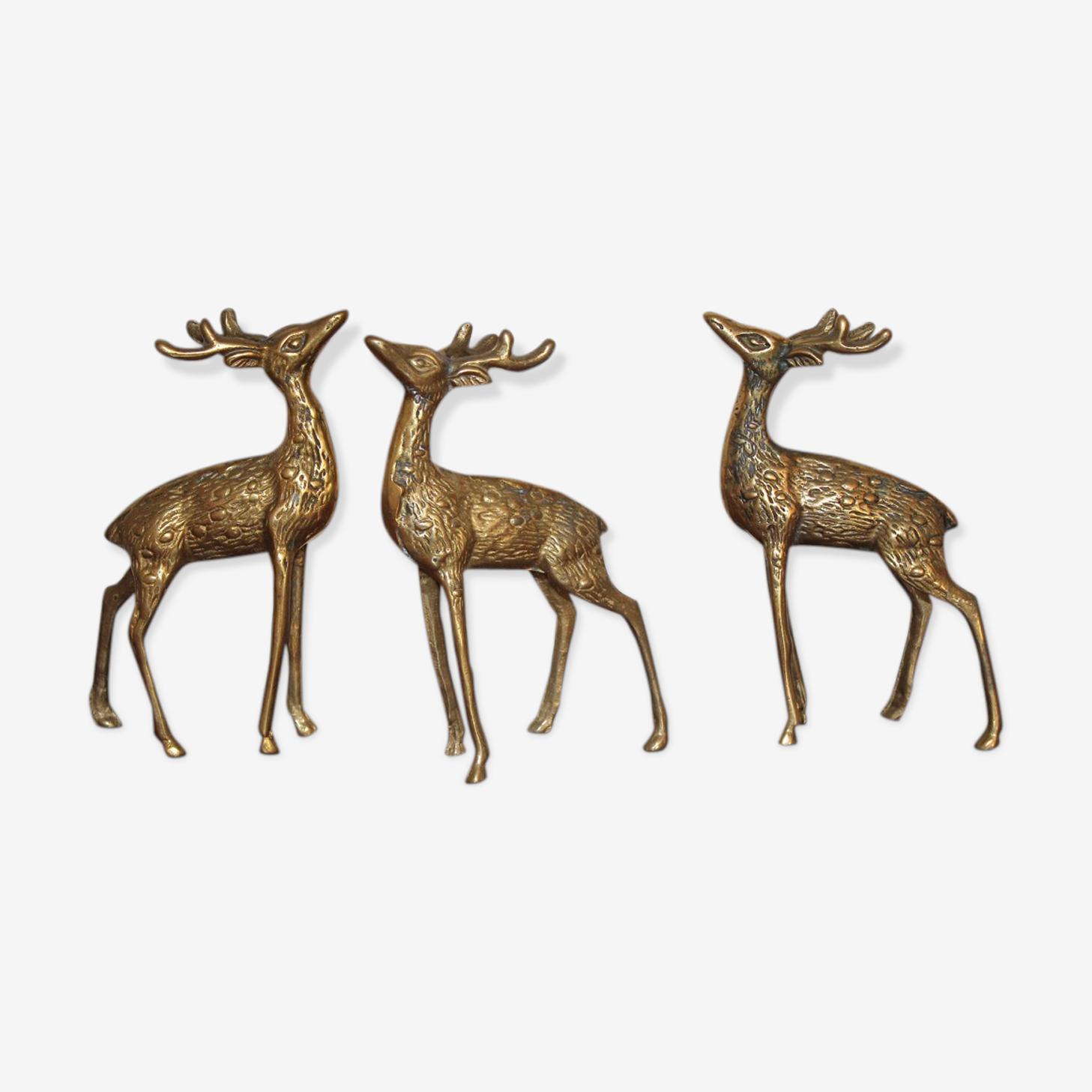 Trio de cerfs en laiton vintage