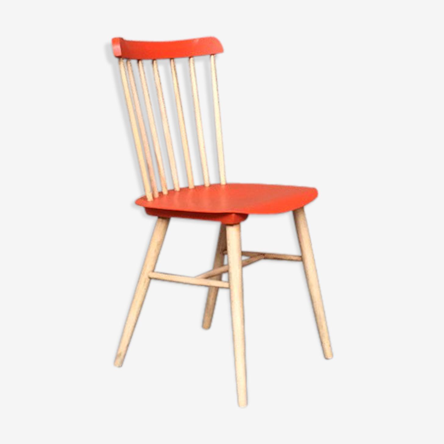 Vintage Baumann style bar chair in solid beech wood