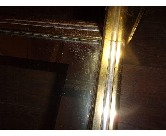 Table basse verre laiton hollywood regency  1960