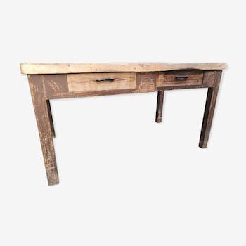 Table fermière meunière 2 tiroirs