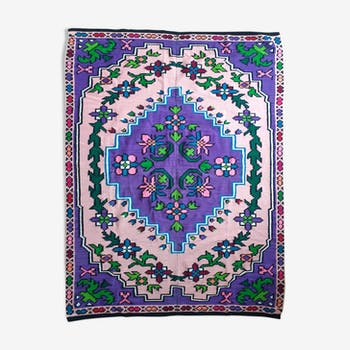 Handwoven bed spred, sofa cover, tapestry or light rug, purple with bohemian design 150x200cm