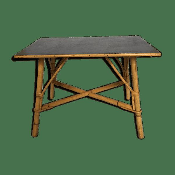Table Basse Recangulaire En Rotin Revetement Plastique Vintage Des Annees 60 Rattan Rectangular Table Rotin Et Osier Noir Bon Etat Vintage