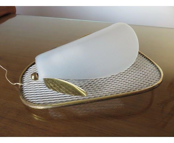Paire d'appliques Jacques Biny métal déployé laiton perspex années 50 60