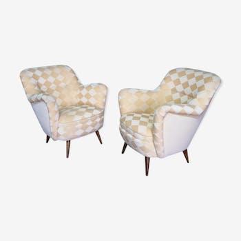 Paires de fauteuils club organique année 50-60