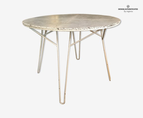 Mathieu Matégot garden table - iron - white - design - 68bIuaq