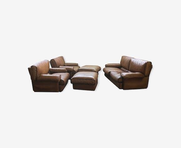 Canapé, fauteuils et repose pieds Roche Bobois en cuir