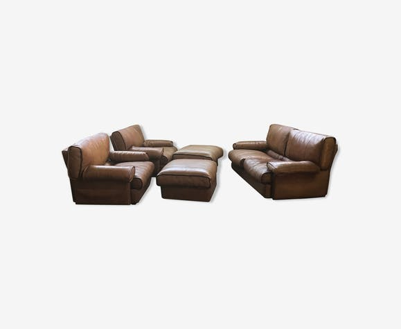2 Seater Leather Sofa With Armchairs