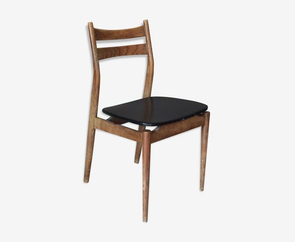 skaï noir1960 bois bois et Chaise scandinave en EWD29IHY