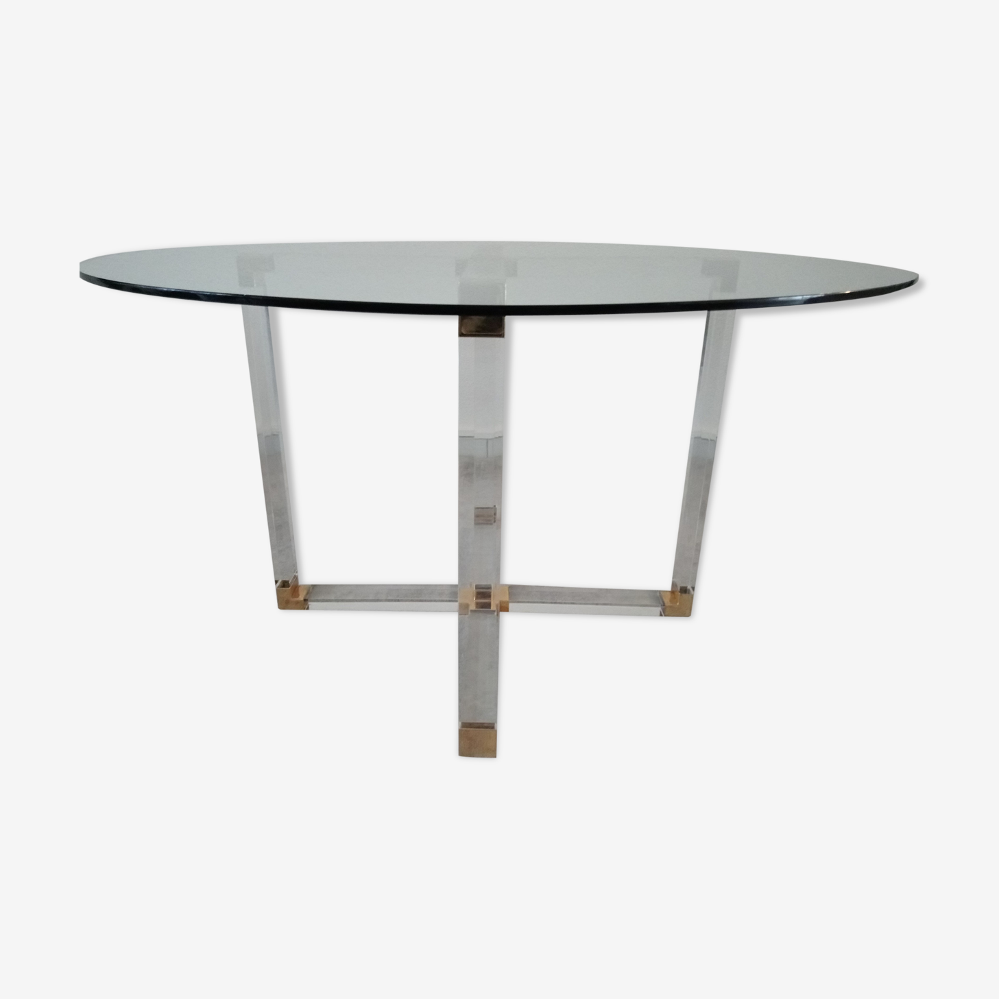 Dining table in lucite and Italian design glass for Metalarte from the 70s