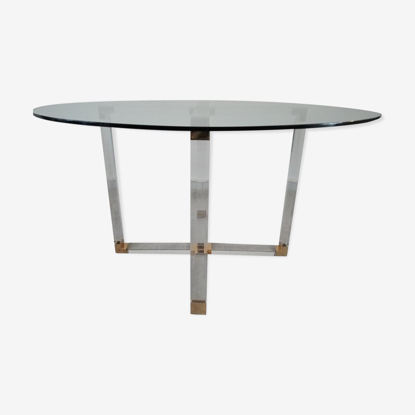 Table à manger en lucite et verre design italien pour Métalarte années 70