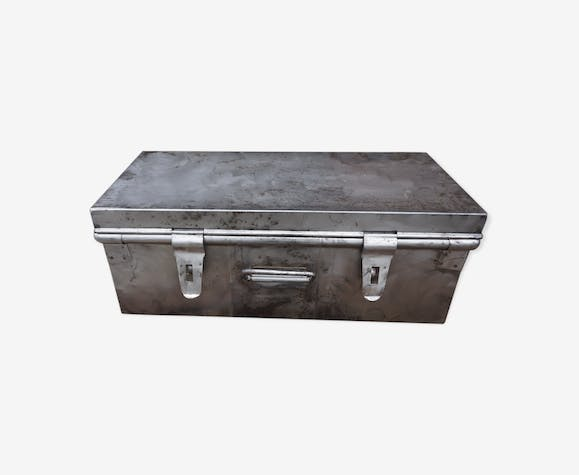 Small brushed metal trunk