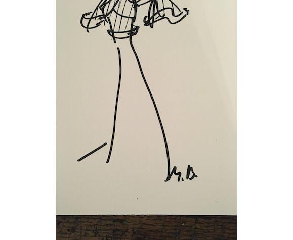 Illustration de mode de presse, collection automne hiver 1987/1988 Christian Dior