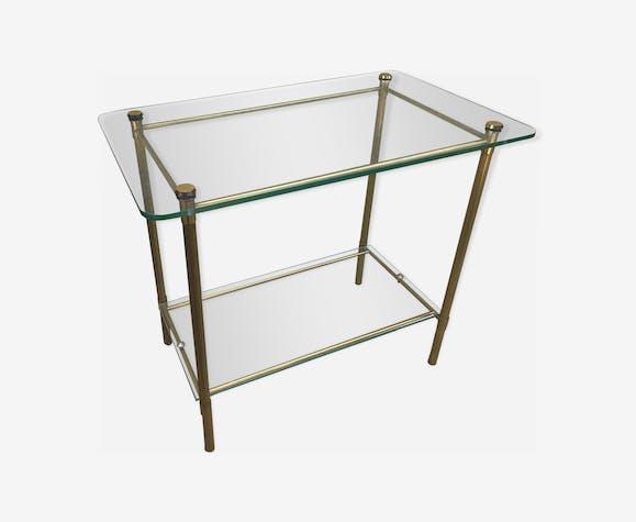 Table basse laiton et verre, années 70