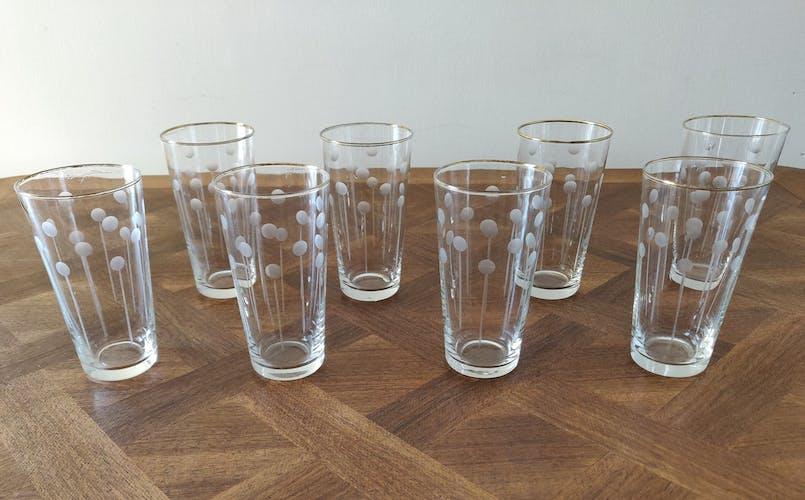 Set de 8 verres à eau ou orangeade ciselés 1960