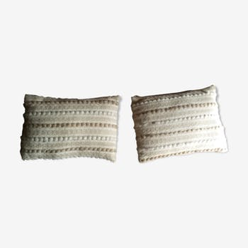 Pair of 2 37x28cm beige cushions