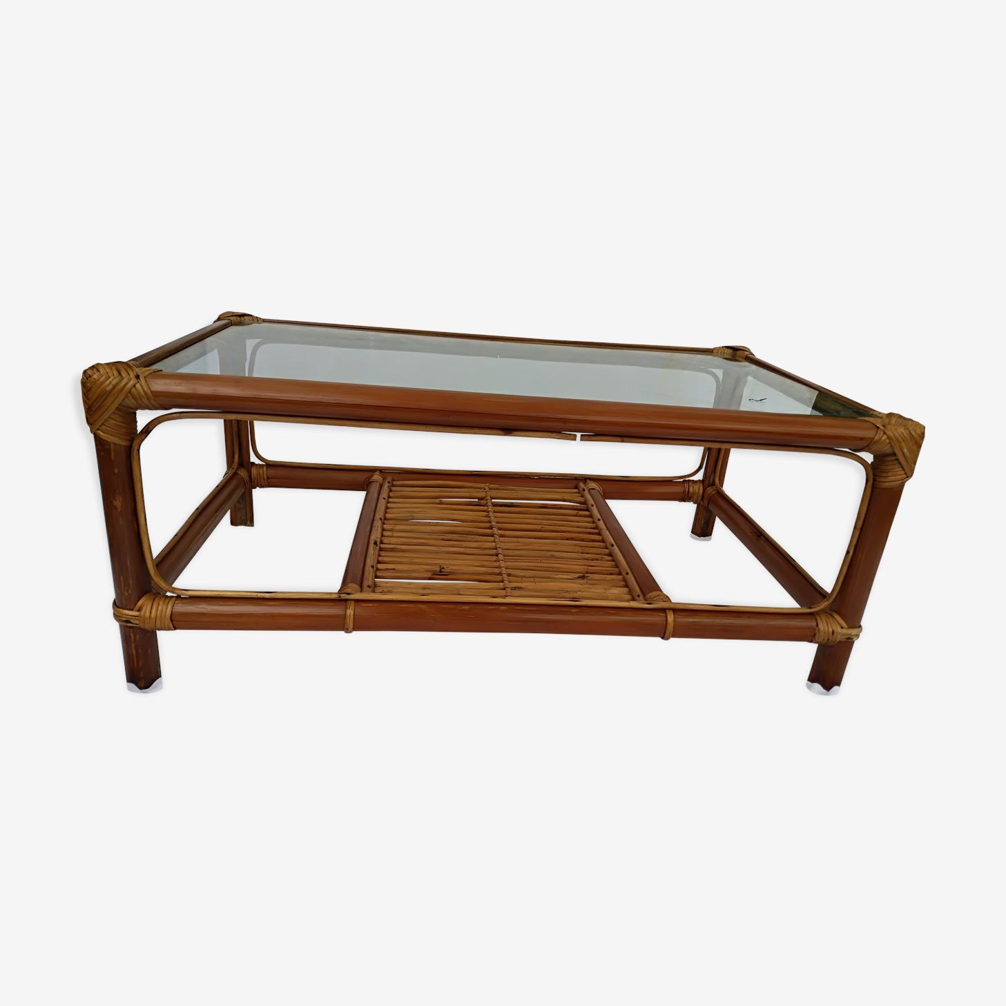 Coffee table vintage rattan