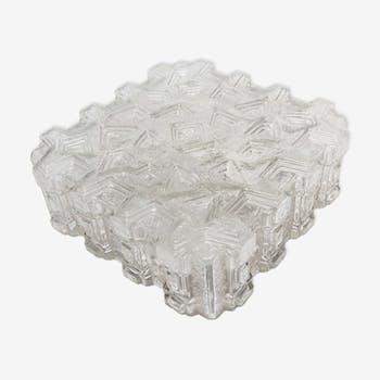 Plafonnier verre moulé géométrique 60