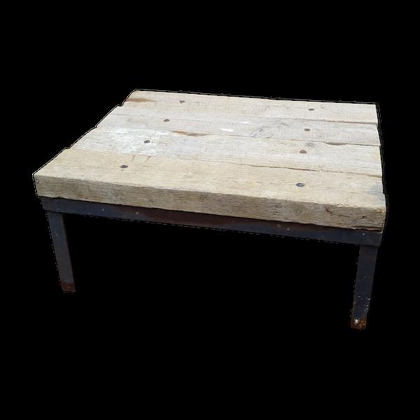 Table basse bois et métal brutaliste