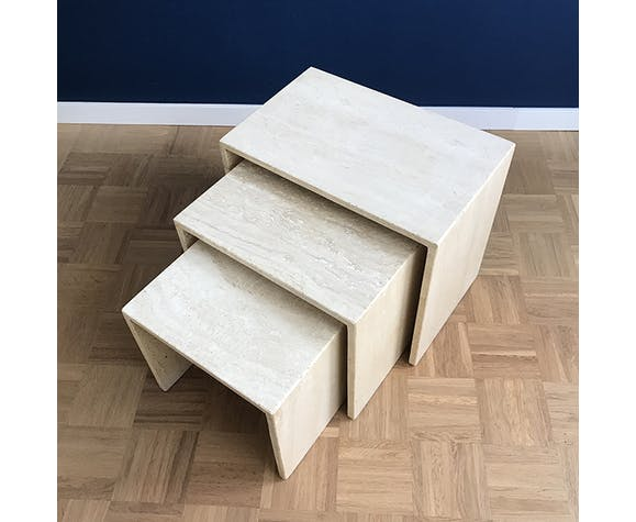 Vintage italian 1970s travertine nesting tables