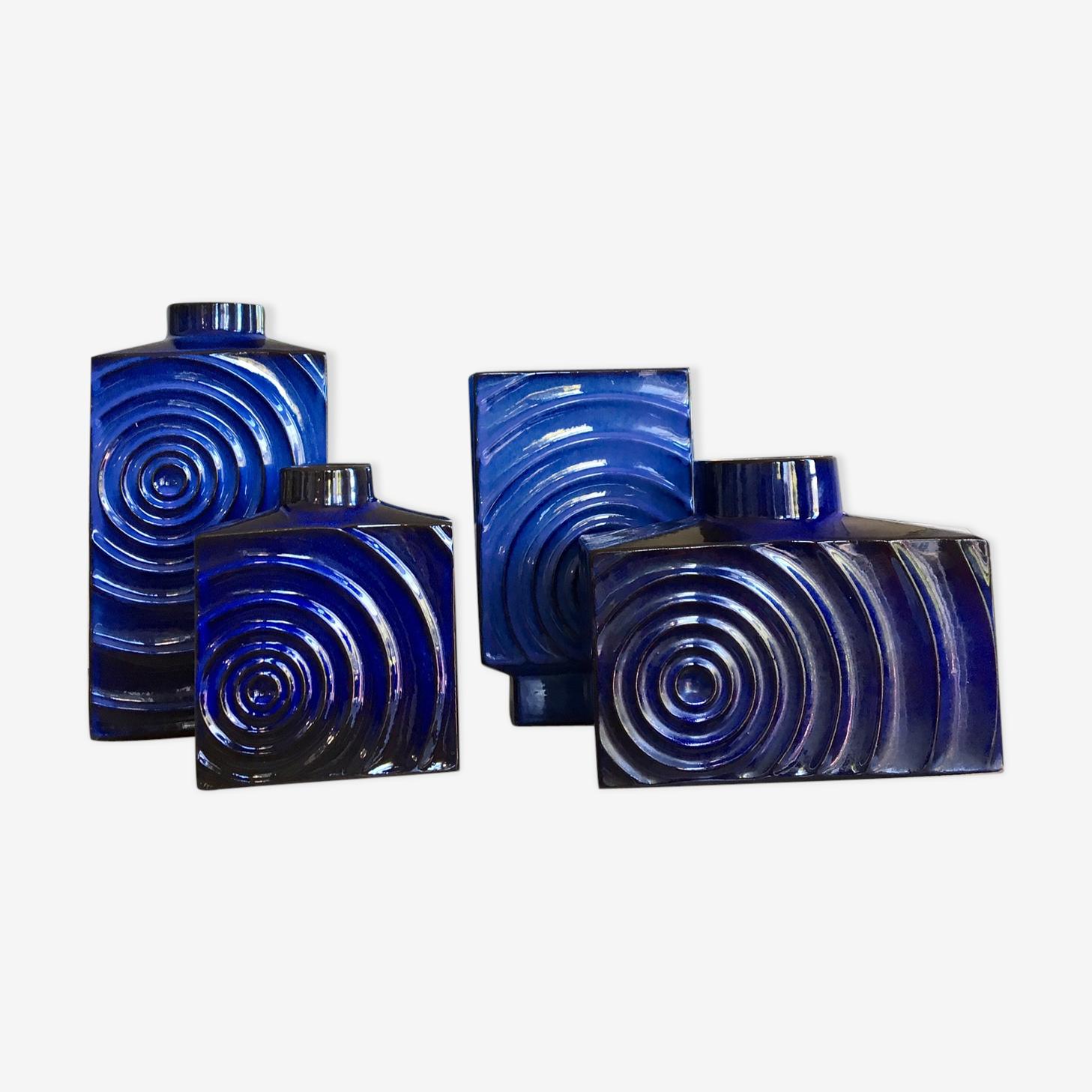 Set de 4 vases Optic Art en céramique de Cari Zalloni des années 70