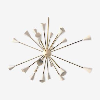 Chandelier Sputnik 24 brass lights white ivory color