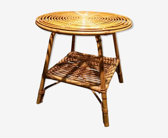 Table basse ronde rotin