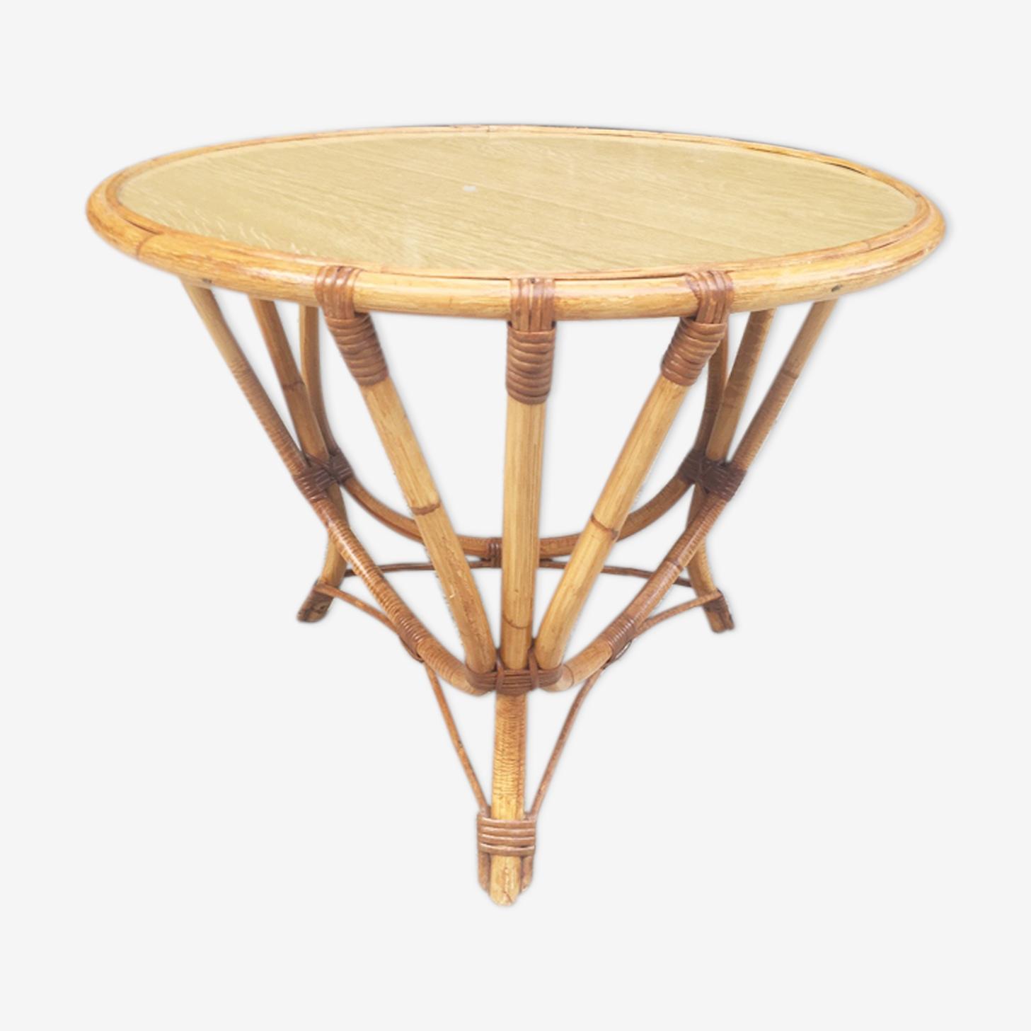 Table basse tripode en rotin des années 60