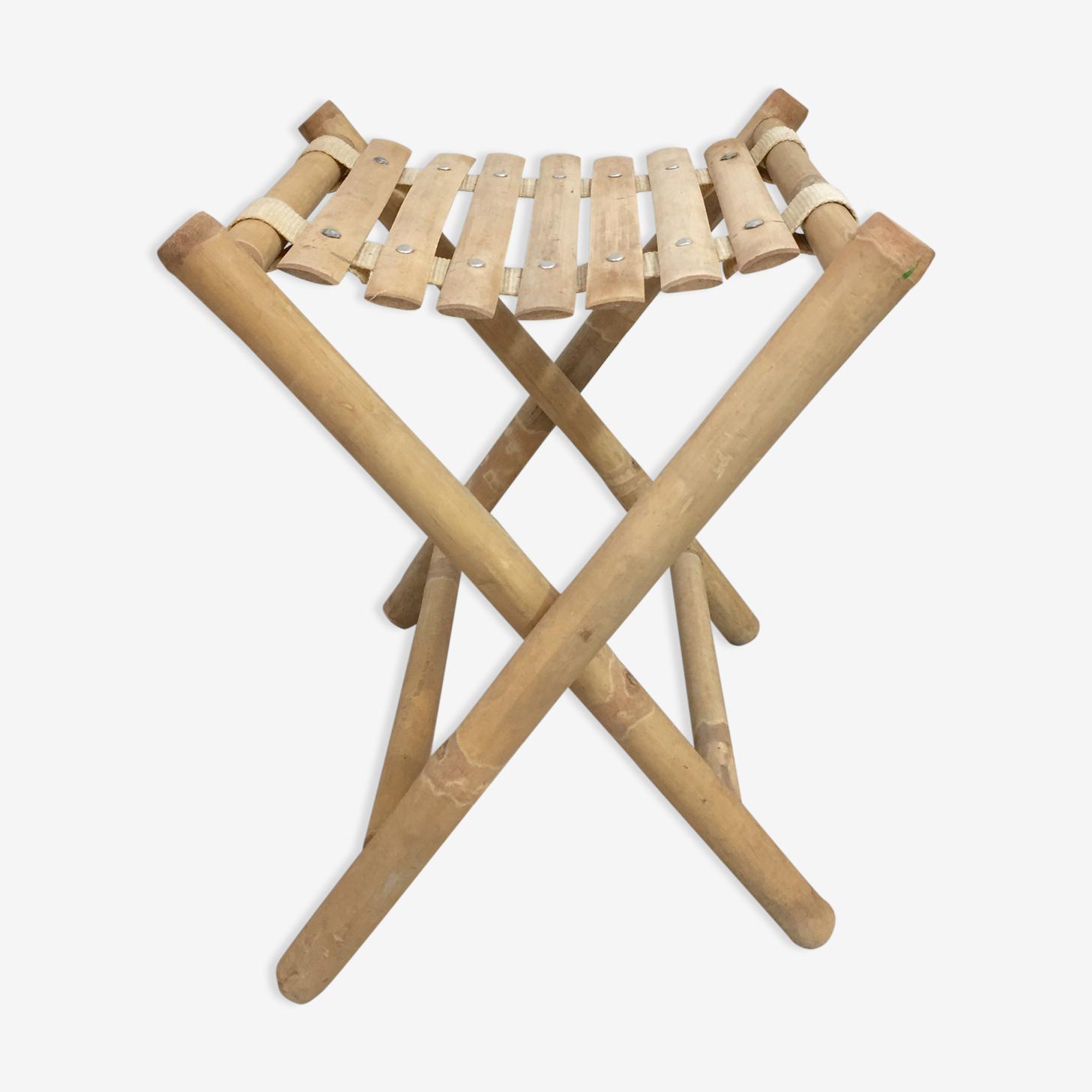 Stool folding bamboo vintage