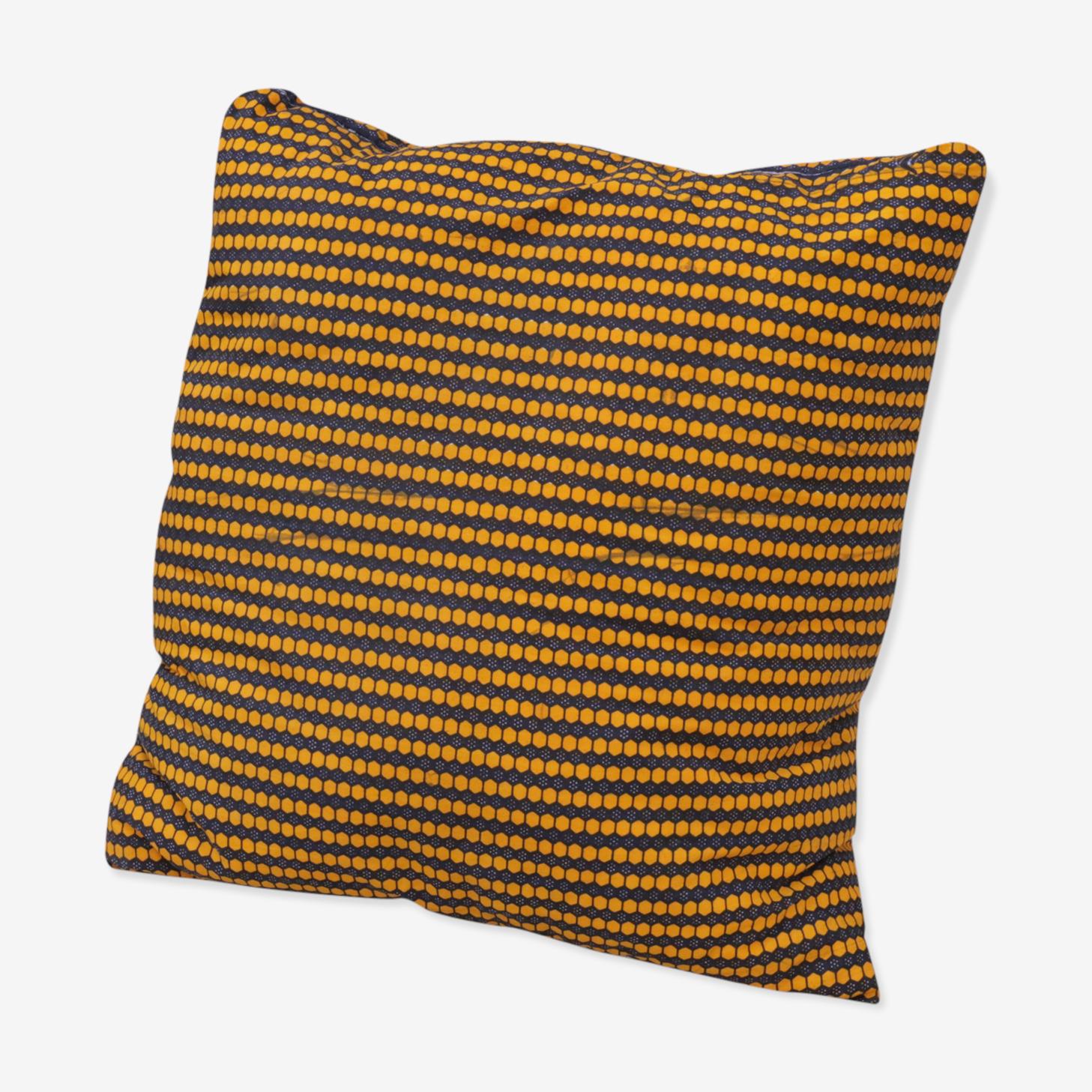 Coussin wax carreaux jaunes et marron