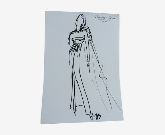 Illustration de mode de presse Christian Dior 1988-1989