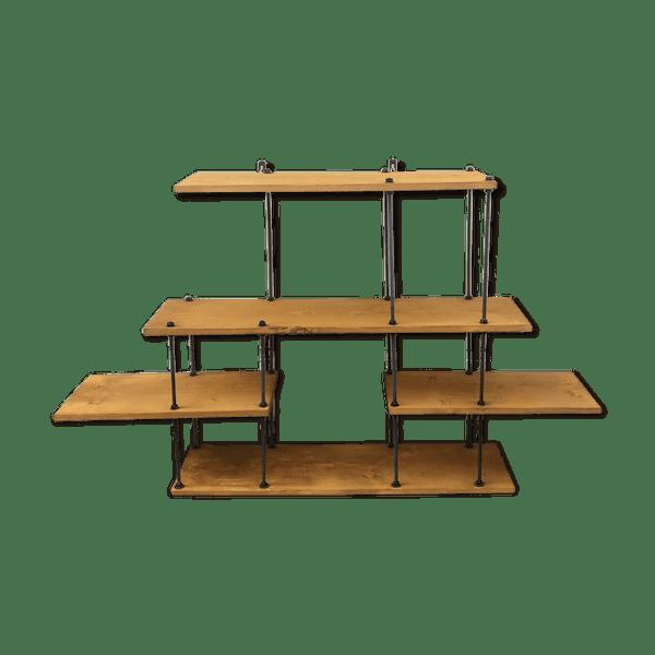 Etagère style industriel, déstructurée - bois (Matériau) - bois ...