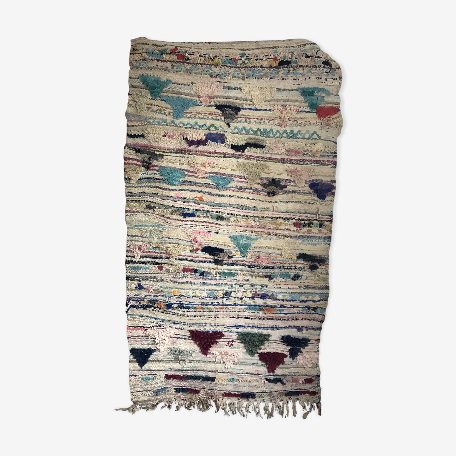 Tapis Marocain Boucherouite 190x103cm Laine Coton Multicolore